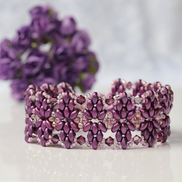 Purple Beaded and Crystal Bracelet