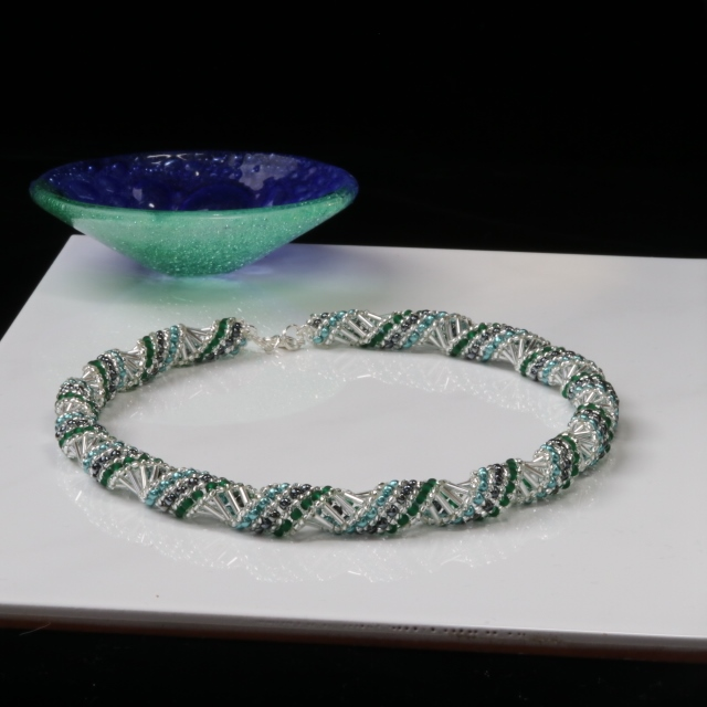 Silver and Green Russian Spiral Necklace