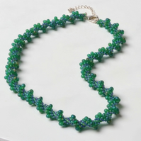 Frosted Green and  Blue Spiral Necklace