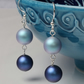 Earrings with Iridescent Blue Swarovski Crystal Pearls