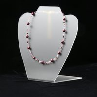 Burgundy and Pink Wire Necklace