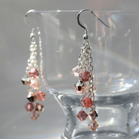 Shades of Rose Gold Swarovski Cascade Earrings