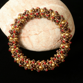 cb4ccf445 Soft Weave Bangle in Gold, Brown and Red