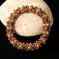 Soft Weave Bangle in Gold, Brown and Red
