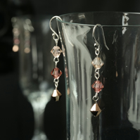 Shades of Rose Gold Swarovski Dangle Earrings