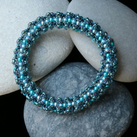 Soft Weave Bangle in Aquamarine Colours