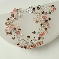 Shades of Rose Gold Swarovski Sparkle Charm Style Bracelet