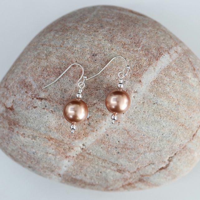 Earrings with Rose Gold Swarovski Crystal Pearls