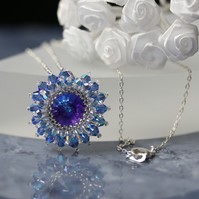 Sparkly Blue and Heliotrope Starburst Pendant