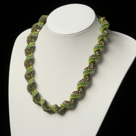 Dutch Spiral Necklace in Shades of Green
