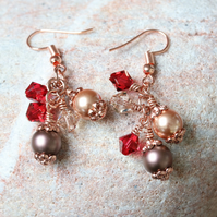 Rose Gold and Swarovski Cluster Earrings