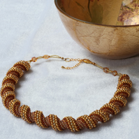 Amber and Gold Cellini Spiral Necklace