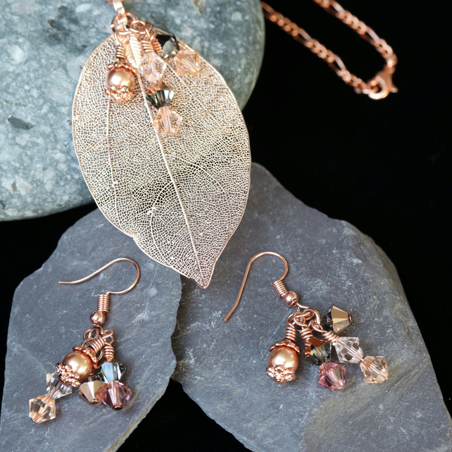 Rose Gold Electroplated Leaf and Swarovski Pendant with Matching Earrings