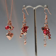 Puffy Heart Rose Gold and Swarovski Plated Pendant with Matching Earrings