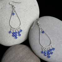 Sapphire Blue Dangly Swarovski Earrings