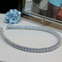 Blue, Cream and Silver Netted Necklace