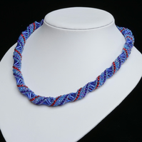 Sapphire Blue Russian Spiral Necklace with a Touch of Ruby Red