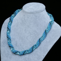 Shiny Deep Aquamarine Russian Spiral Necklace
