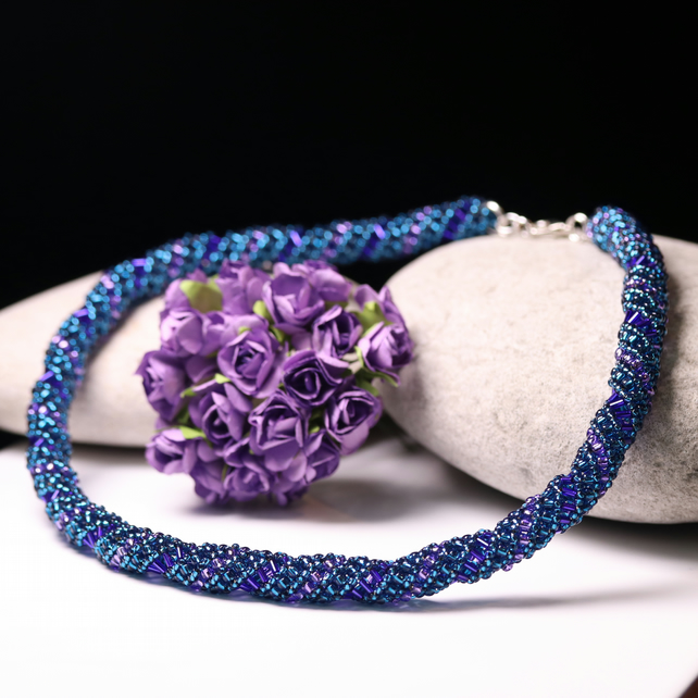 Teal and Purple Russian Spiral Necklace