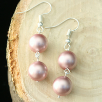 Earrings with Powder Rose Swarovski Crystal Pearls