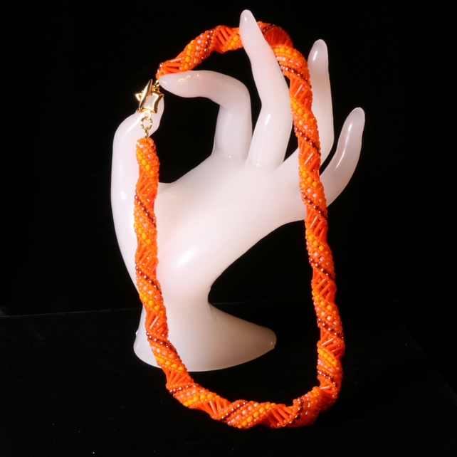 Orange Russian Spiral Necklace