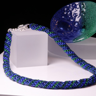 Blue and Green Russian Spiral Necklace