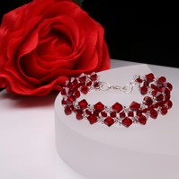Deep Red (Siam) and Silver Chevron Weave Bracelet