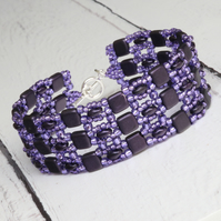 Purple Beaded Cuff Bracelet