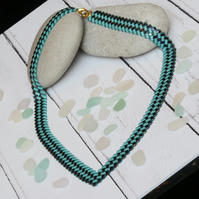 Half Tila V-Neck Necklace in Turquoise