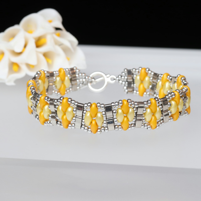 SuperDuo Narrow Cuff Bracelet in Yellow, Orange and Silver