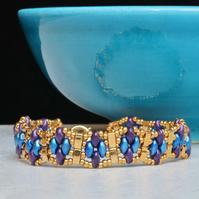 SuperDuo Narrow Cuff Bracelet in Purple, Blue and Gold