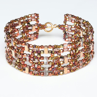 Copper Colours Beaded Cuff Bracelet