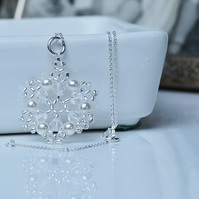 Crystal and Pearl Snowflake Pendant