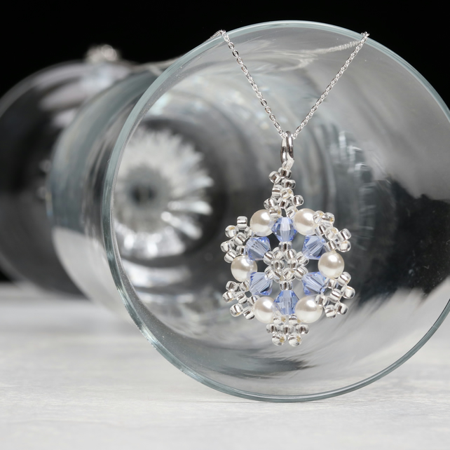 Light Blue Crystal and Pearl Snowflake Pendant