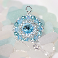 Little Aquamarine Crystal Medallion Pendant
