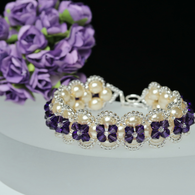 Cream Pearl and Deep Purple Crystal Bracelet