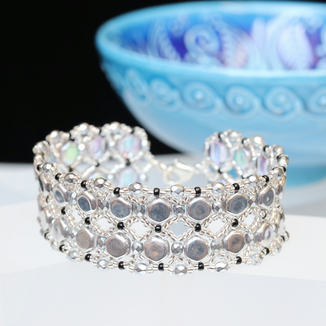 Honeycomb Bead Cuff Bracelet in Silver