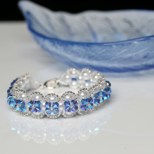 White Pearl and Sparkly Sapphire Blue Crystal Bracelet
