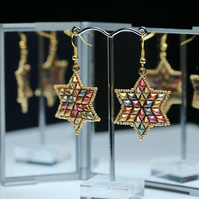 Gold and Copper Shades Star Earrings