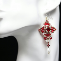 Scarlet, Silver and Pearl Crystal Manuela Earrings