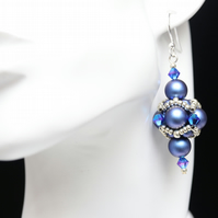 Blue Swarovski Pearl and Crystal Beaded Bead Earrings