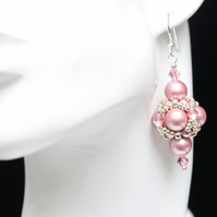 Pink Swarovski Pearl and Crystal Beaded Bead Earrings