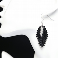 Russian Leaf Beaded Earrings in Black and Silver