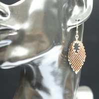 Russian Leaf Beaded Earrings in Bronze and Gold