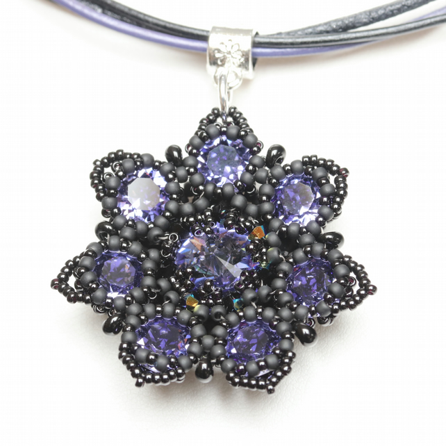 Tanzanite and Black Flower Choker Pendant