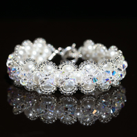 White Pearl and Sparkly Swarovski Crystal Bracelet