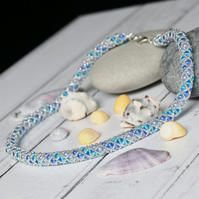 Blue, Aquamarine and Silver Netted Necklace