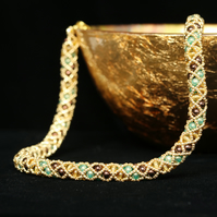 Gold, Green and Brown Netted Necklace