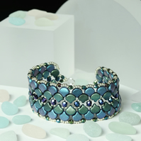 Dragon Scale Cuff Bracelet in Blue and Green