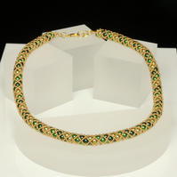 Green and Gold Netted Necklace